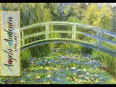 Acrylic Painting Tutorial (Part 2) Monet Inspired Waterlilies Bridge Impressionist Art - YouTube