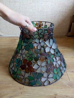 Flower sea stained glass lamp shade for standing lamp, floor lamp, torchere, standard-lamp, OOAK bea Stained Glass Floor Lamp, Tiffany Stained Glass, Stained Glass Projects, Stained Glass Patterns, Stained Glass Art, Shabby Chic Lamp Shades, Rustic Lamp Shades, Table Lamp Shades, Rustic Lamps