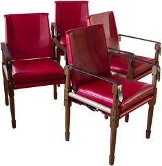 Chatwin Dining Chair in Oiled Walnut with Red Leather Upholstery
