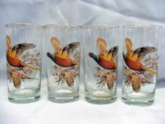 Lot 6 Vintage Ring Neck Pheasants West Virginia Glass Iced Tea Drink Glasses   *I remember the adults using these glasses at the cabin....*