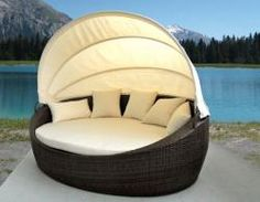Resin Wicker Canopy Daybed