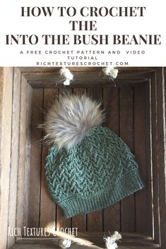 Crochet this gorgeous textured beanie with this free crochet pattern and video tutorial. Hello and welcome to Rich Textures Crochet! Today we are going to learn how to crochet the Into the Bush Beanie hat, a hat with lots of texture! Beanie Pattern Free, Crochet Beanie Pattern, Crochet Patterns, Free Pattern, Crochet Hat Tutorial, Crochet Instructions, Crochet Pikachu, Crochet Crafts, Crochet Projects