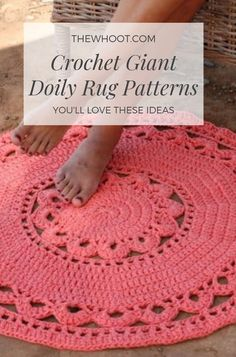 Most recent No Cost giant Crochet rug Thoughts Giant Crochet Doily Rug Free Pattern Crochet Doily Rug, Crochet Carpet, Crochet Circles, Thread Crochet, Crochet Flowers, Crochet Coaster, Mug Rug Patterns, Crochet Rug Patterns, Dress Patterns