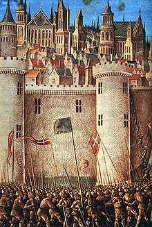 The Crusades were a series of a military campaigns fought mainly between Christian Europe and Muslims. Shown here is a battle scene from the First Crusade.