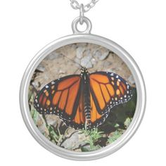 Photo necklace with butterfly Photography by Aimee L Maher http://www.zazzle.com/photo_necklace_with_butterfly-177200275482679106