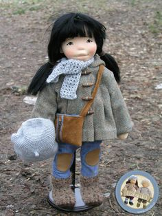 Miyako - natural fiber art doll by Lalinda.pl