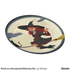 Shop Witch on a Broomstick Halloween Plate created by iHoliday. Halloween Plates, Custom Plates, Art For Kids, Witch, Art Pieces, Prints, Design, Broom Handle, Bruges