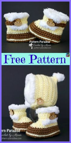 It is getting colder, and winter is nearing, why don't you make these Crochet Winter Baby Booties to keep your precious little baby warm! Crochet Baby Poncho, Crochet Baby Blanket Beginner, Crochet Baby Boots, Booties Crochet, Crochet Baby Clothes, Crochet For Boys, Crochet Slippers, Baby Booties Free Pattern, Crochet Winter