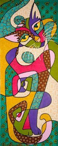 Patchwork Cat by Turkish artist Sedef Yılmabaşar Art And Illustration, Illustrations, Wal Art, Cat Quilt, Cat Colors, Cat Crafts, Arte Pop, Whimsical Art, Cool Cats