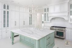 White and Aqua Kitchen Love by StoneCroft Homes