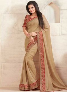 Cream Red Embroidery Sequin Work Fancy Fabric  Designer Sarees http://www.angelnx.com/Sarees