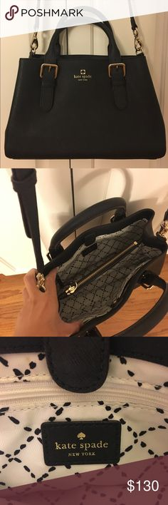 Kate Spade Black Crossbody (With Adjustable Strap) Authentic. Comes with dust bag. No scratches or marks. Hardly used - looks new! kate spade Bags Crossbody Bags