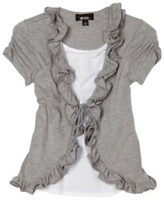 (Hmmm, I wonder if I could make this....)Amazon.com: Amy Byer Girls 7-16 Two-fer Wire Ruffle Front Cozy Tee, Grey, X-Large: Clothing