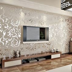 Damask Sand Shining Luxury Embossed Patter Surface Flocking Wallpaper Gray Color