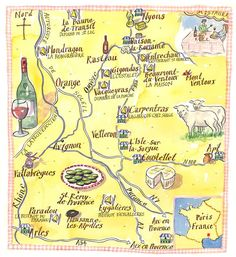 Illustrated Map of Provence We've stayed in Avignon, Manosque and St-Remy and got to see much of the region. The French countryside is beautiful Más French Alps, French Countryside, European Vacation, European Travel, Travel Maps, Travel Posters, La Provence France, St Remy, Le Colorado