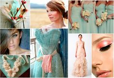 blush pink, aqua and ruffles inspiration board