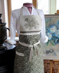 Купить Фартук для кухни Цветочек - турецкий огурец, подарок женщине, натуральные материалы, столовый