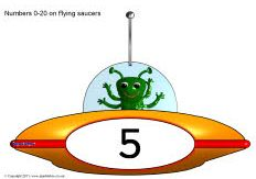 Free for kids: Numbers 0-20 on flying saucers