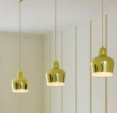 Alvar Aalto for Artek Golden Bell Pendant Interior Lighting, Home Lighting, Pendant Lighting, Gold Ornaments, Alvar Aalto, House On A Hill, Light Decorations, Chandeliers, Interior Decorating