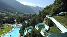 Brigerbad, Switzerland: the largest outdoor thermal swimming pools in Switzerland (25–37 °C) with the first grotto swimming pool in Europe, the longest Alpine thermal water slide (182 metres), the turbulent river pool, and the unique Olympic swimming pool with 4 50-metre swimming lanes.