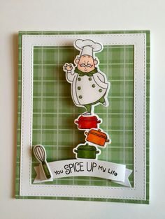MY FAVORITE THINGS Recipe for happiness stamps and Country Fair Plaid paper.