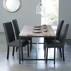 Table de salle à manger indus en bois massif et métal L 178 cm