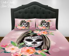 Sugar Skull Comforter Set ,Duvet Cover , Amalia  Skull, Bedding Day Of The Dead Bedding  Girl Diva Skulls, Twin Full Queen King Bedding