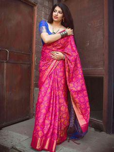 1508379115f65 Pink and Blue Jacquard Silk Patola Print Saree With Weaving
