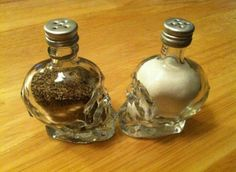 Crystal Head Vodka salt and pepper shakers! Just punch some holes through the cap and voila!