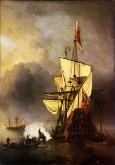 Ship At Anchor by Willem van de Velde the Younger