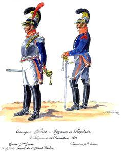 Westphalia; 2nd Cuirassiers, Officer, Grande Tenue & Cuirassier, Petite Tenue 1810