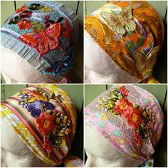 For friends who like scarves vintage gypsy folk art babuska , boho and lagenlook lovers head scraf , make your own by repurposing a vintage silk head scarf and embellishing it with floral appliques and embroidery chic frida style craft