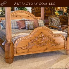 Custom Hand Carved Canopy Bed: Fine Art Designs By H. Nick - the finest quality furniture available anywhere at any price Bedroom Furniture Sets, Bed Furniture, Furniture Design, Quality Furniture, Bedroom Ideas, Wood Bed Design, Sofa Design, Carved Beds, Hand Carved