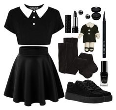 Wednesday by psycho-doodle-bug on Polyvore featuring polyvore, fashion, style, H&M, Kat Von D, Bobbi Brown Cosmetics, Giorgio Armani, Inglot, Killstar, clothing, contest, black, goth, alternative and addams