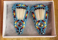 Navajo Native American Beaded Turquoise Blue Dentalium Fan Post Earrings – eBay find of the week