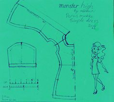 Free Simple dress pattern for Monster High doll
