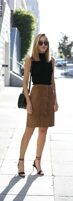 suede button front pencil skirt, black mock neck sleeveless sweater, black lace up heeled sandals, black shoulder bag + sunglasses {abercrombie & fitch, halogen, steve madden, smoke x mirrors}