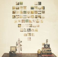 other shapes could be pixelated out with photos like this - fun idea for a kid's room or craft room and it can be formalized a bit by using uniformly framed photos