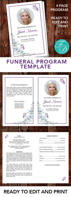 Funeral program template, funeral order of service, memorial - funeral program template microsoft