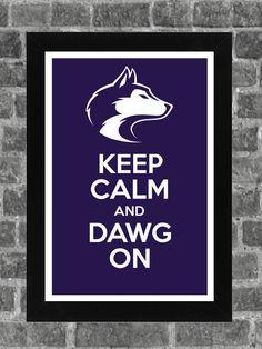 Keep Calm Washington Huskies NCAA Print Art 11x17 by KCPrinting, $14.99
