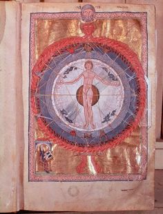 Universal Man. Manuscript illumination from Liber divinorum operum or De operatione dei (Book of Divine Works) by Hildegard of Bingen, 1163–74. Biblioteca Statale, Lucca