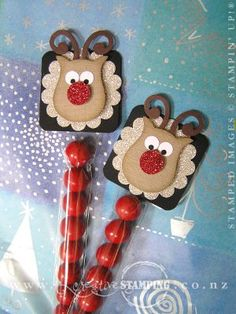Stampin' Up! Christmas Reindeer using owl punch- or use the circuit for a larger version for Christmas cards Christmas Paper Crafts, Stampin Up Christmas, Noel Christmas, Christmas Projects, Holiday Crafts, Christmas Goodies, Scrapbooking 3d, Owl Punch Cards, Candy Crafts
