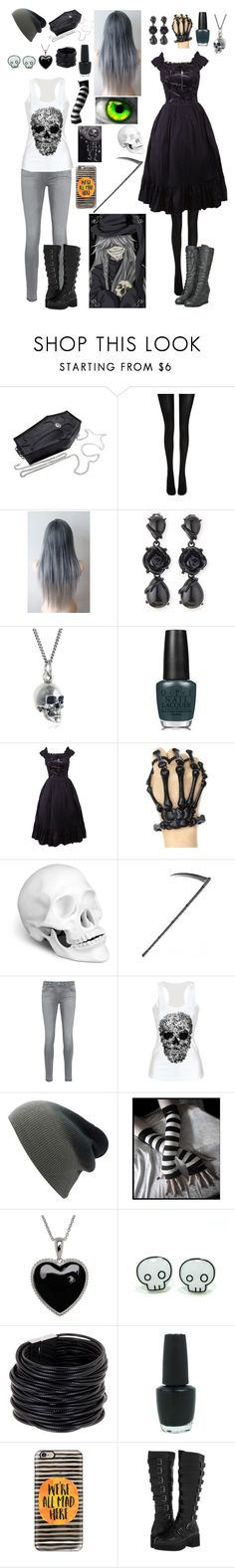 """Black Butler: Daughter of the Undertaker"" by ender1027 ❤ liked on Polyvore featuring Wolford, Oscar de la Renta, Black Pearl, OPI, Retrò, L'Objet, AG Adriano Goldschmied, Lord & Taylor, Saachi and Casetify"