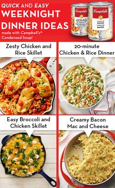Enjoy our delicious quick and easy dinner recipes that you can cook up in 30 minutes or less. Quick and easy recipes that your family will love. Weeknight Meals, Quick Easy Meals, Easy Dinners, Supper Recipes, Easy Dinner Recipes, Campbells Soup Recipes, Cooking Recipes, Healthy Recipes, Healthy Meals