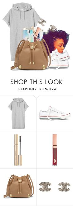 """""""I'm like damn she's fine. Wonder when she'll be mine, she walked by like press rewind, see that ass one more time."""" by bfamily ❤ liked on Polyvore featuring Monki, Converse, Dolce&Gabbana, Charlotte Tilbury, Samsung, Vince Camuto and Chanel"""