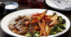 Feed your family Curtis Stone's delicious braised beef with roasted potatoes and broccoli for a hearty evening meal.