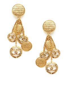 "CHANEL Vintage CC Logo Charm Drop Earrings  Gold-tone base metal earrings with CC logo and ""Chanel Paris"" charm drop details, circs 1980s"