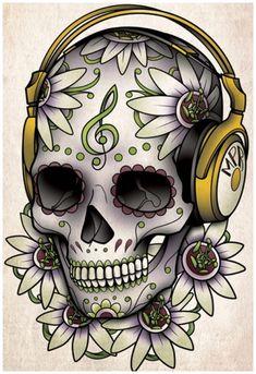Skull Tattoo Design for Men and Women : Sugar Skull Tattoo Designs