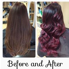 Pin for Later: 15 Rainbow Hair Trends That Dominated Salons in 2015 Cherry Bombré Red Ombre Hair, Burgundy Hair, Brown Hair, Light Purple Hair, Bright Hair, Colorful Hair, Violet Hair Colors, Red H, Dark Red