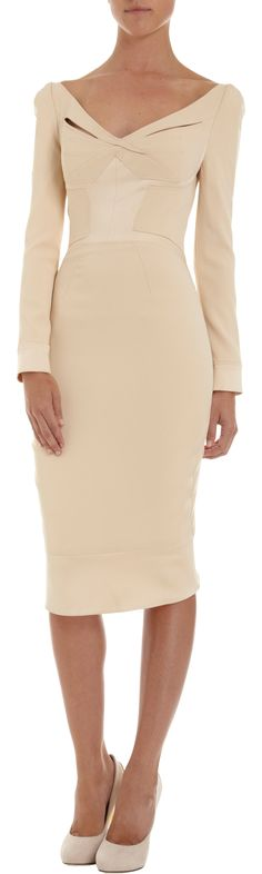 Zac Posen Long Sleeve Wide V-Neck Dress at Barneys.com